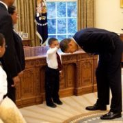 Little boy and Barack Obama