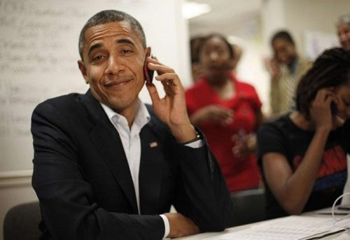 Obama is talking on the phone