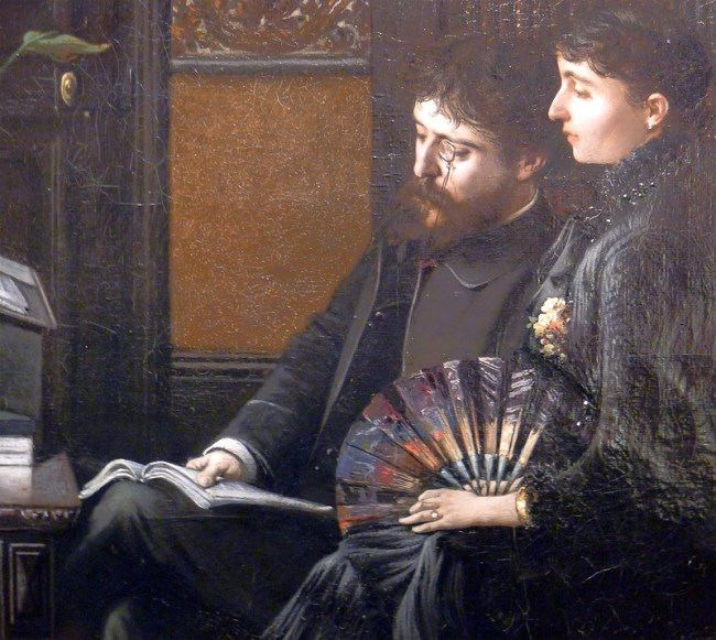 Alphonse Daudet and his wife in the study, 1883, painting by Louis Montegut