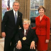 Bradbury with US President George W. Bush and First Lady Laura Bush. 17 November 2004