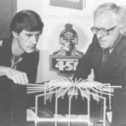 Director Terence Schenk and playwright Ray Bradbury are working on a set of scenery for the play Fahrenheit 451