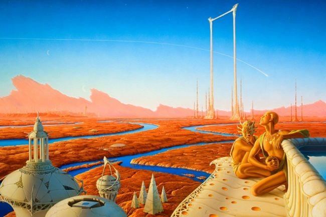 Illustration for Ray Bradbury's novel The Martian Chronicles