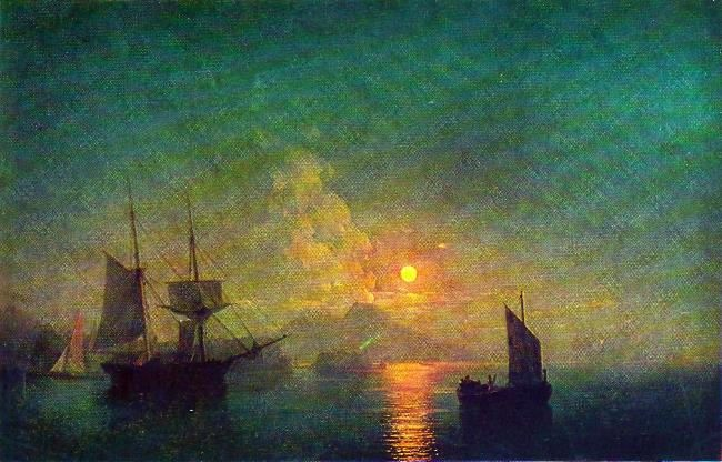 Neapolitan Bay in the moonlit night. 1850