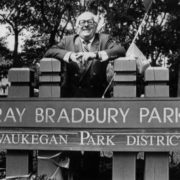 Writer at the opening of Ray Bradbury Park in Waukegan. 1992