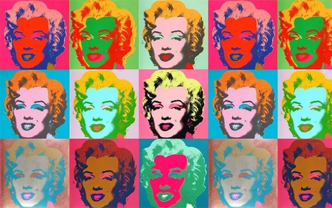 Portrait-collage of Marilyn Monroe by Andy Warhol