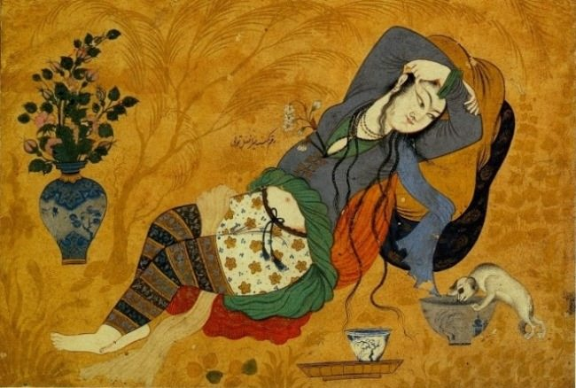Amazing Persian miniature, illustration to Khayyam's Rubaiyat