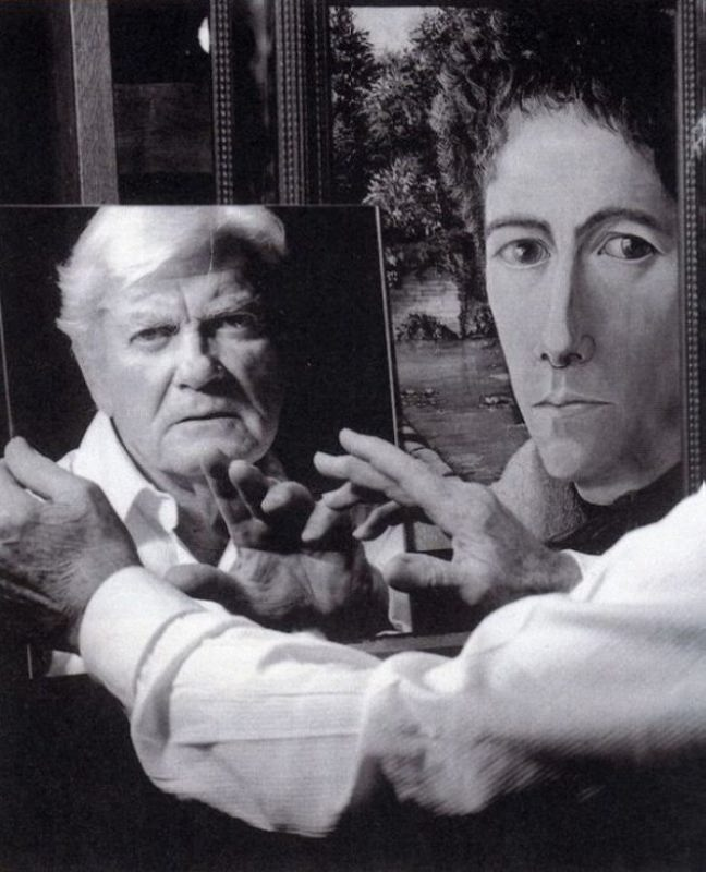 Jean Marais with a portrait of Jean Cocteau