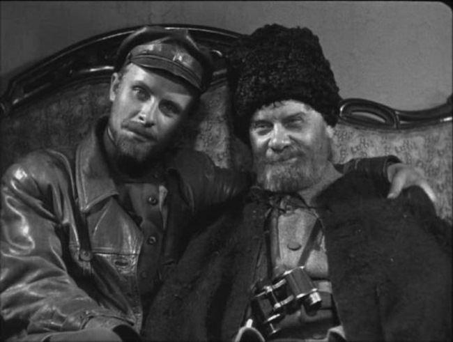Nikolai Shchors and Vasily Bozhenko. Images from Alexander Dovzhenko's movie