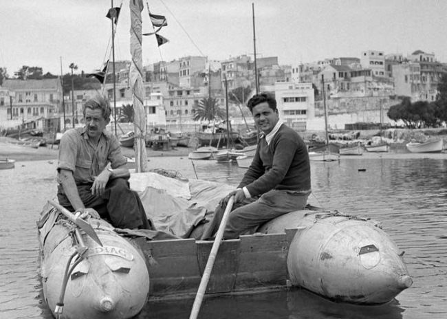 Alain (right) with a friend yachtsman Jack Palmer