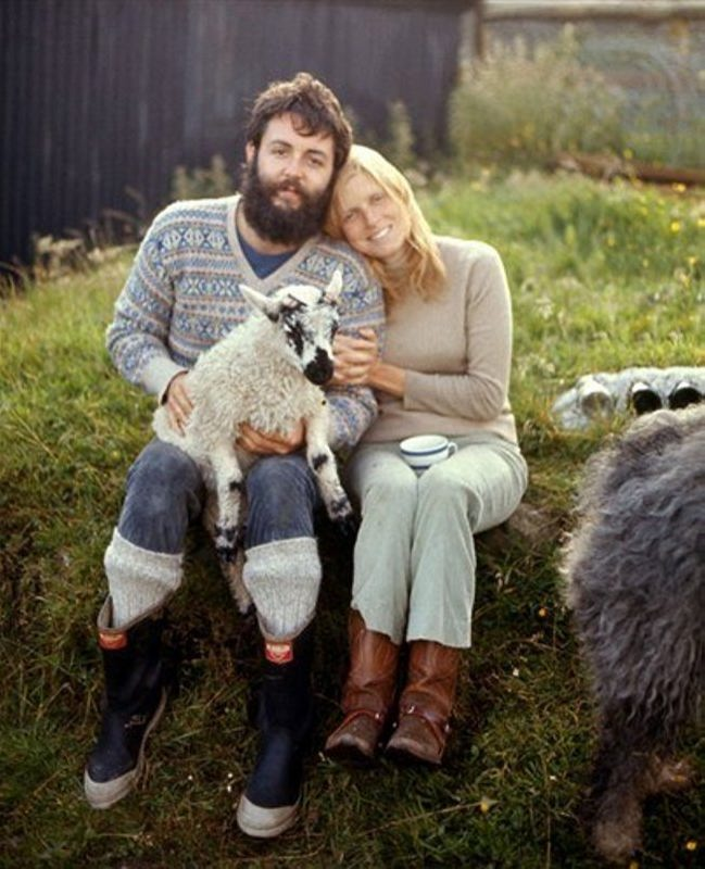 Paul and Linda with a lamb