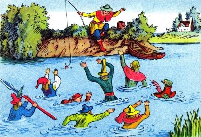 Seven brave men. Illustration by V. M. Konashevich