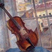K. Petrov-Vodkin. Still life with a violin, 1918