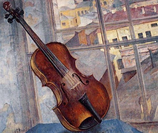 K. Petrov-Vodkin. Still life with a violin, 1918
