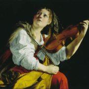 Orazio Gentileschi. Young Women with a Violin