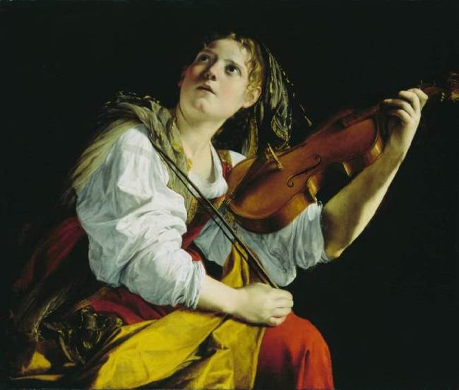 Orazio Gentileschi. Young Women with a Violin