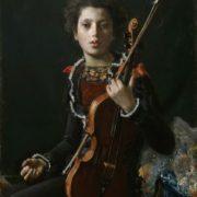 Portrait of Luigino Gianchetti, Holding a Violin - Antonio Mancini Italian