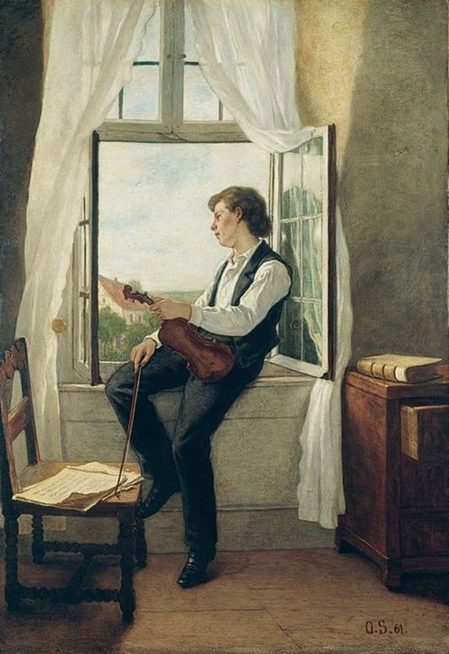 The Violinist at the Window by Otto Scholderer