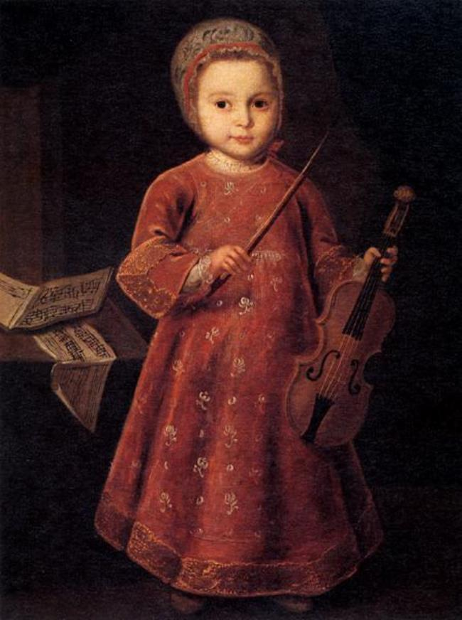 Unknown artist. Portrait of a child with a violin. 18th century