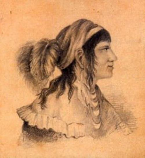 Osceola - Seminole Indian military leader. Portrait by J. R. Winton, 1837