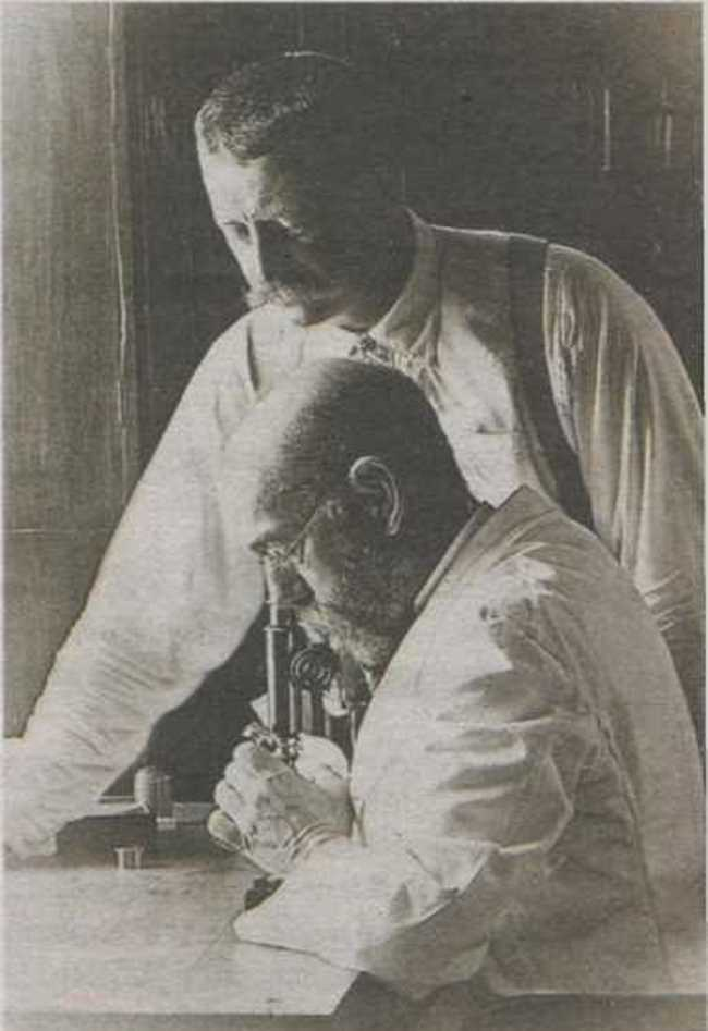 Professor Robert Koch (foreground) in his laboratory