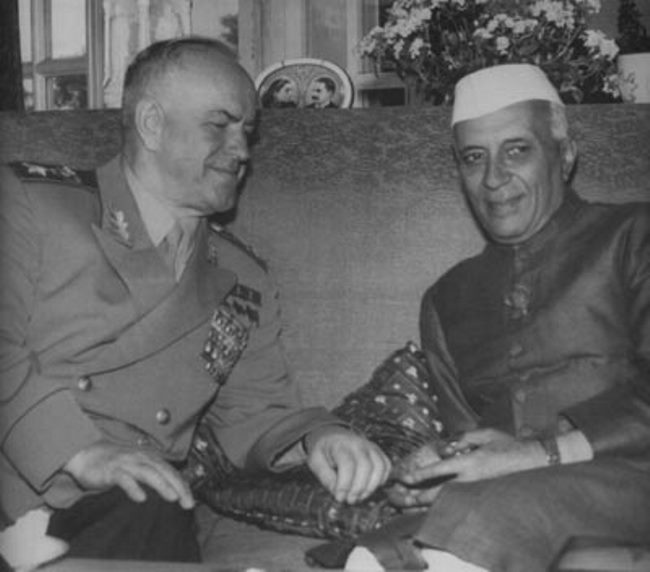 Georgy Zhukov and Nehru