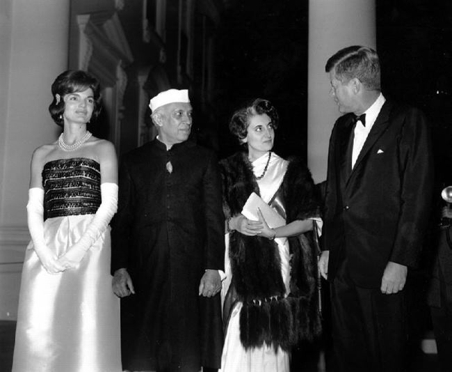 John Kennedy and Jawaharlal Nehru with their wives