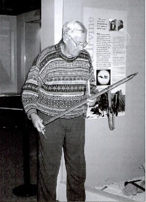 John Mallory with his father's ice ax