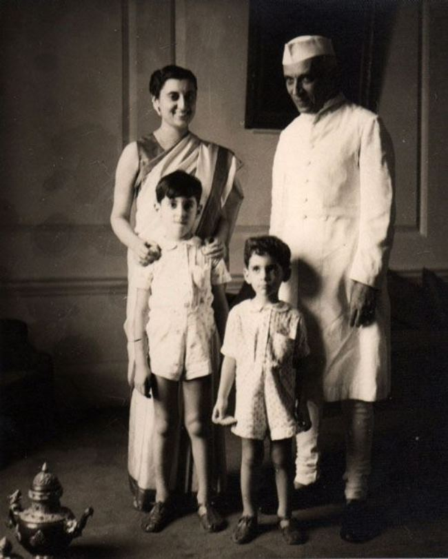 Nehru with his daughter and grandsons