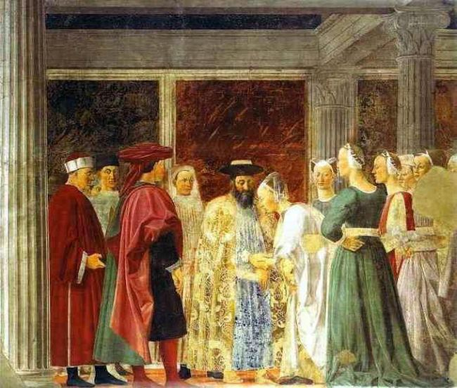 Piero della Francesca. Legend of the True Cross. Queen Meeting with Solomon