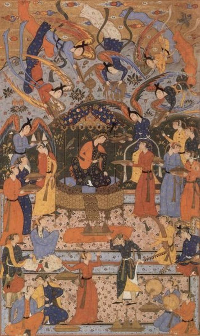 Queen on the Throne. Persian miniature of the 16th century
