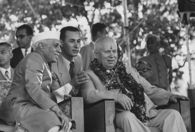 Soviet leader Nikita Khrushchev and Nehru