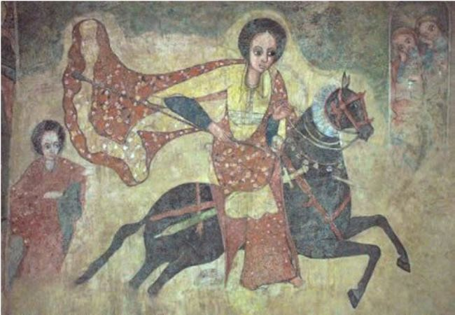 The Queen of Sheba rides to Jerusalem. Ethiopian fresco