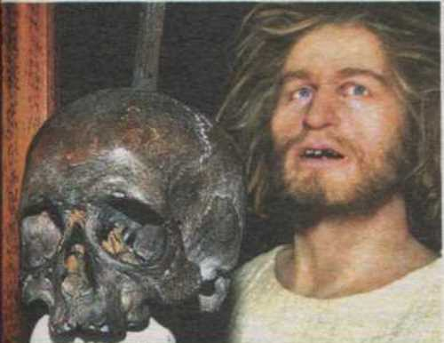 The skull and the restored appearance of the famous pirate
