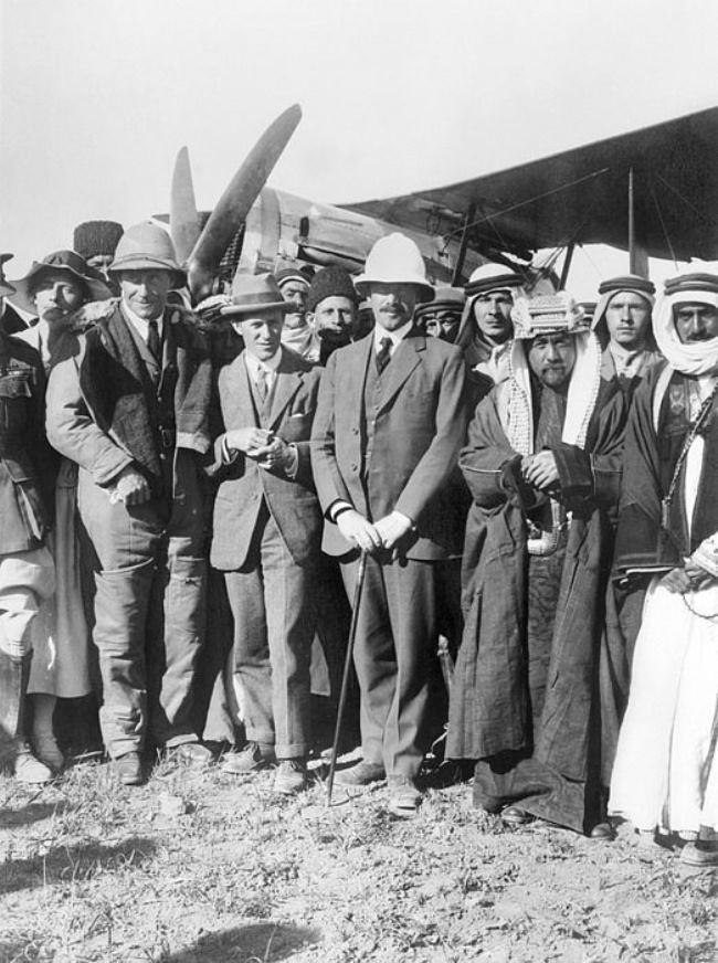 Gertrude, Major Welsh, Lawrence, Sir Herbert Samuel, Emir Abdullah (future King of Jordan) and Majid El Sultan Adwan